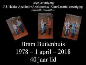 Bram Buitenhuis 40 jaar lid.